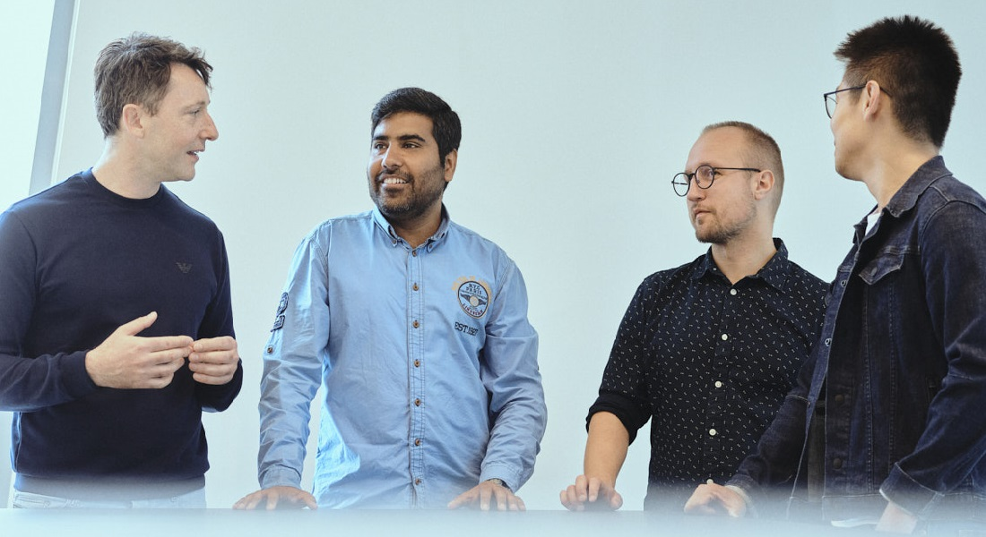 The Twelve Bio team now moving to BII (from left to right): co-founder Stefano Stella, Faizaan Mohammad, Nikolai Wulff and Zhiwei Li.